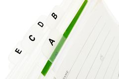 Indice analitico del biglietto da visita Fotografia Stock Libera da Diritti