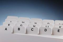 Indice analitico di scheda Fotografia Stock
