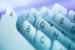 Indice analitico di scheda blu Immagine Stock