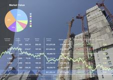 Indice del mercato di borsa valori ed affare di costruzione economici Fotografia Stock Libera da Diritti