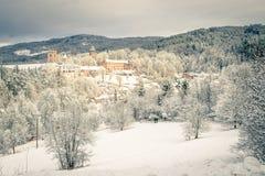 Indichi il castello Rozmberk il nad Vltavou Boemia e chiesa del sud nell'inverno (neve) Fotografia Stock