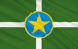Indichi la bandiera della città capitale e più grande di Jackson - nello stato di illustrazione di stock