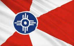 Indichi la bandiera di Wichita - una città negli Stati Uniti, la più grande località o illustrazione di stock