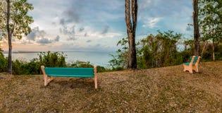 Indichi la base Trinidad e Tobago che si rilassa la vista panoramica dall'alta collina che overviewing Mayaro Immagine Stock Libera da Diritti