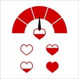 Indictor rosso di amore, cuore completo di amore di vettore immagine stock
