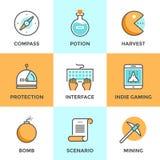 Indie dobbelbeståndsdellinje symbolsuppsättning stock illustrationer
