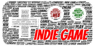 Indie game word cloud shape Royalty Free Stock Images