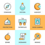 Indie gaming elements line icons set. Line icons set with flat design elements of indie gaming elements, scenario video game develop, search compass, player Stock Images
