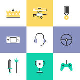 Indie gaming elements pictogram icons set Royalty Free Stock Images