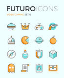 Indie gaming futuro line icons Stock Image