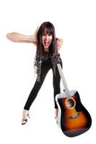 Indie Girl With Guitar Royalty Free Stock Images
