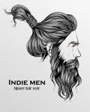 indie Mannhippie-Frisur stock abbildung