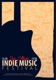 Indie Musik-Festival Geöffnete Luft Fliegerdesign Schablone mit Gekritzel des Handabgehobenen Betrages auf dem Hintergrund vektor abbildung
