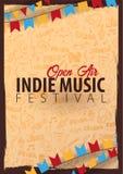Indie Musik-Festival Geöffnete Luft Fliegerdesign Schablone mit Gekritzel des Handabgehobenen Betrages auf dem Hintergrund lizenzfreie abbildung