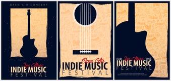 Indie Musik-Festival Geöffnete Luft Satz von Fliegerdesign Schablone mit Gekritzel des Handabgehobenen Betrages auf dem Hintergru stock abbildung