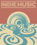 Indie Musik Vector Hand gezeichnete Illustration der surrealen Landschaft mit Tonanlage stock abbildung