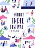 Indie Musikfestival des Sommers im Freien, Messe- oder Freilichtereignisflieger oder Plakatschablone mit netten kleinen Leuten un stock abbildung