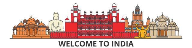 Indien översiktshorisont, plan tunn linje symboler, gränsmärken, illustrationer för indier Indien cityscape, indisk loppstadsvekt vektor illustrationer