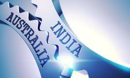 Indien - Australien metalliska cogwheels 3d Arkivbild