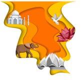 Indien bakgrund med Taj Mahal, Lotus Temple och elefanten royaltyfri illustrationer