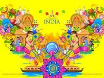 Indien bakgrund som visar dess kultur och mångfald royaltyfri illustrationer
