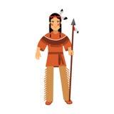 Indien d'Amerique indigène dans le costume traditionnel se tenant avec l'illustration de lance Photo stock