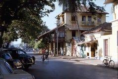 1977 Indien Eine ruhige Straße in Panjim Lizenzfreies Stockbild
