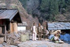 1977 Indien Einige freundliche Dorfbewohner in Hurri Lizenzfreies Stockbild