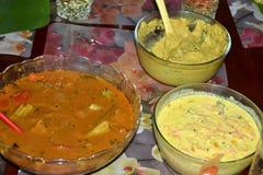 Indien fait maison Sambhar et cari de carotte Images stock