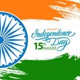 Indien firar den lyckliga självständighetsdagen kortet med hälsningar för handbokstäverferie vektor illustrationer