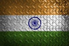 Indien flagga, metalltextur på bakgrund Arkivfoto