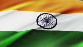Indien flagga som vinkar i för Indien för vindvideomaterial realistisk bakgrund flagga Indisk flagga som kretsar closeupen vektor illustrationer