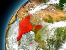 Indien från omlopp av modellen Earth Arkivbilder