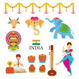 Indien-Gegenstand-Ikonen eingestellt Lizenzfreie Stockfotografie