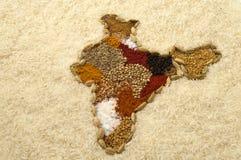Indien-Gewürzkarte mit Reis Lizenzfreies Stockfoto