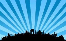 Indien-Grenzstein-Skylinevektor Stockbild