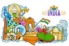 Indien-Hintergrund, der seine unglaubliche Kultur und Verschiedenartigkeit mit Monument, Festival zeigt vektor abbildung