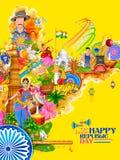 Indien-Hintergrund, der seine unglaubliche Kultur und Verschiedenartigkeit mit Monument, Tanzfestival zeigt vektor abbildung