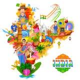 Indien-Hintergrund, der seine unglaubliche Kultur und Verschiedenartigkeit mit Monument, Tanzfestival zeigt stock abbildung