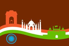 Indien-Hintergrund mit Monument und Gebäude Stockfoto