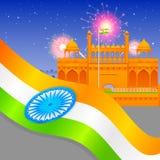 Indien-Hintergrund mit rotem Fort Stockfoto