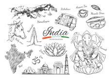 Indien Indische gezeichnete Symbole des Erbvektors Hand von Indien Ganesh, OM, Namaste, Delhi, Kuh Lokalisierte Gegenstände auf W stock abbildung