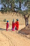 Indien, Jaisalmer: Frauen in der Wüste lizenzfreies stockbild