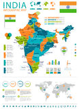 Indien - Karte und Flagge - infographic Illustration Stockbilder