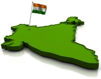 Indien - Karte und Markierungsfahne Lizenzfreie Stockfotografie