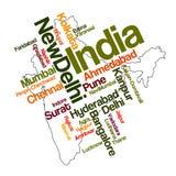 Indien-Karte und Städte Stockbilder