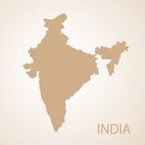 Indien-Kartenbraun-Vektorillustration Stockfoto