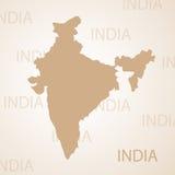 Indien-Kartenbraun-Vektorillustration Stockbild