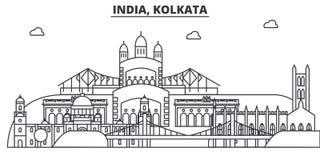 Indien, Kolkata-Architekturlinie Skylineillustration Lineares Vektorstadtbild mit berühmten Marksteinen, Stadtanblick Lizenzfreies Stockbild