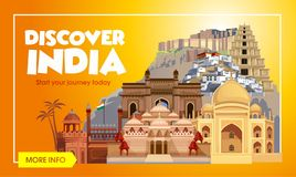 Indien loppbaner Tur till det Indien designbegreppet Indien loppillustration Lopppromobaner VektorIndien destinationer royaltyfri illustrationer